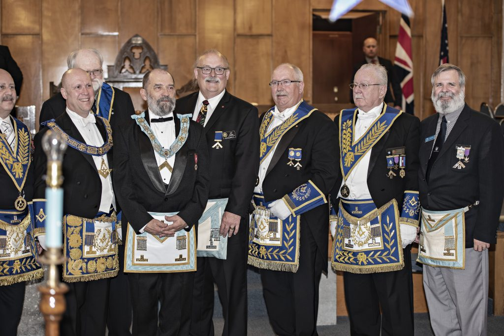 The newly installed WM with with brethren from Templum Lucis lodge